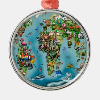 Animals World Map Metal Ornament