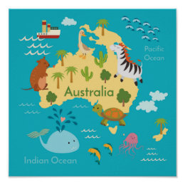 Kids world map posters prints zazzle animals world map of australia for kids poster gumiabroncs Image collections