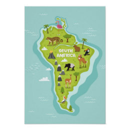 Kids world map posters prints zazzle animals world map of south america for kids poster gumiabroncs Image collections