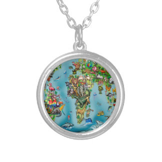 Animals World Map Silver Plated Necklace