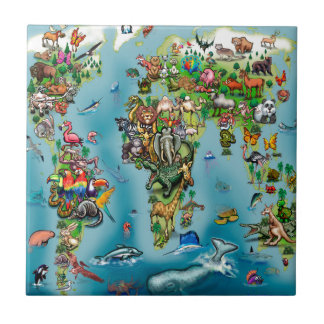 Animals World Map Tile