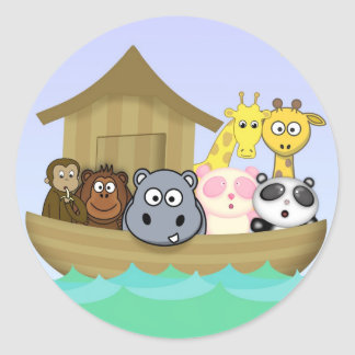 Animatastic Noah's Ark  Bible Story Illustration Classic Round Sticker