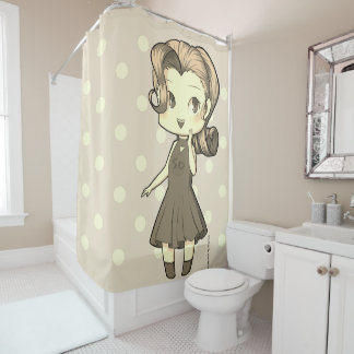 Animate Chibi Girl and Polka Dowries Shower Curtain