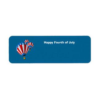 Animated American Flag July 4th Hot Air balloon Return Address Label