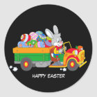 Animated Bunny With Truck full of coloured eggs Classic Round Sticker