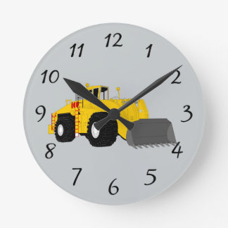 Animated construction equipment clocks