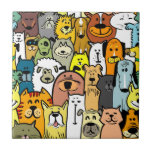 Animated Dogs and Cats illustrations Small Square Tile