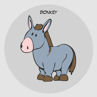 Animated Donkey Classic Round Sticker