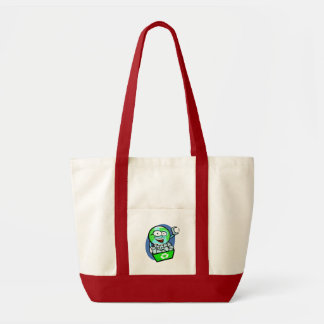 Animated earth recycling impulse tote bag