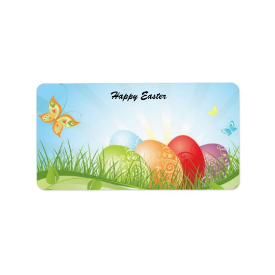 Animated Easter Eggs with butterflies label Address Label