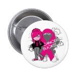 Animated Girl Breast Cancer Sucks Badges