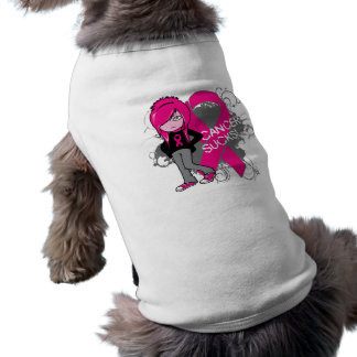 Animated Girl Breast Cancer Sucks Doggie T Shirt