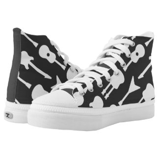 Animated Guitars Printed Shoes