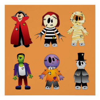 Animated Halloween Costume Characters Poster