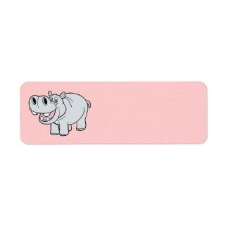 Animated Hippo Return Address Label
