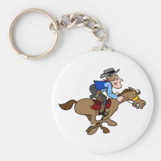 Animated Horse Runs Cartoon Cowboy Holds Tight Key Ring