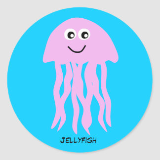 Animated Pink Jellyfish Classic Round Sticker