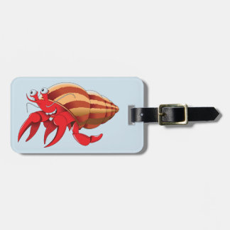 Animated Red Hermit Crab Luggage Tag