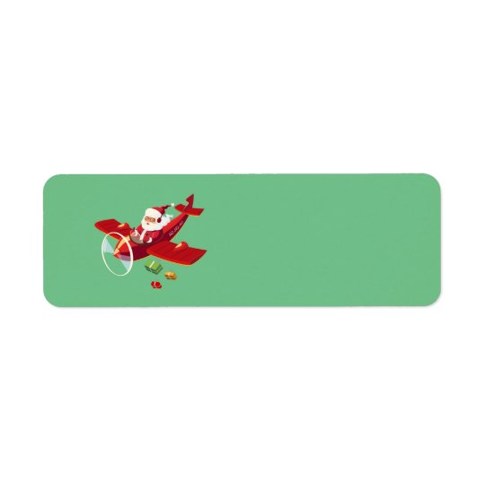 Animated Santa and his aeroplane Return Address Label
