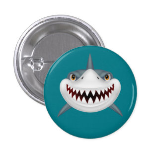 Animated Scary Shark Face 3 Cm Round Badge