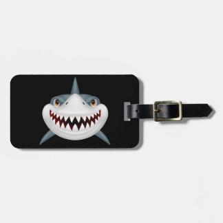 Animated Scary Shark Face Luggage Tag