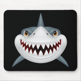 Animated Scary Shark Face Mouse Pad