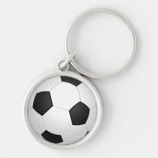 Animated Soccer Ball Keychain Silver-Colored Round Keychain