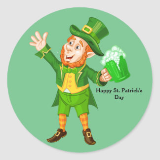Animated St. Patrick's Day Leprechaun Classic Round Sticker