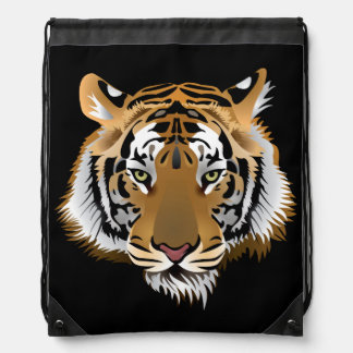 Animated Tigers Face Drawstring Bags