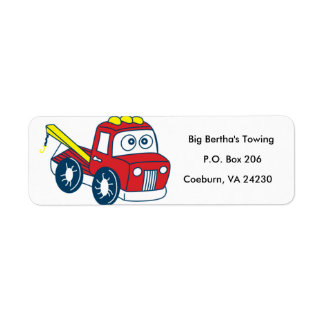 Animated Tow Truck Return Address Label