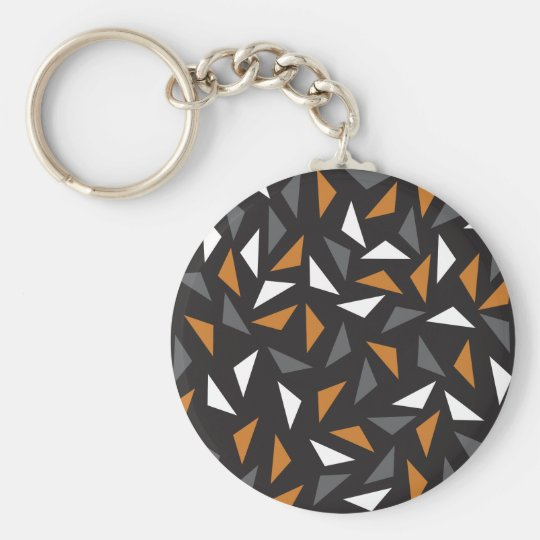 Animated triangles basic round button key ring