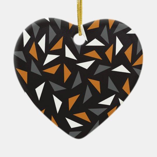 Animated triangles ceramic heart decoration