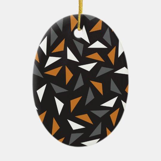 Animated triangles ceramic oval decoration