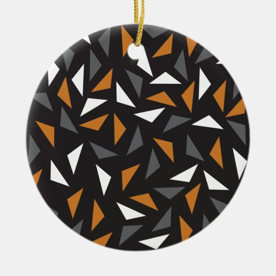 Animated triangles round ceramic decoration