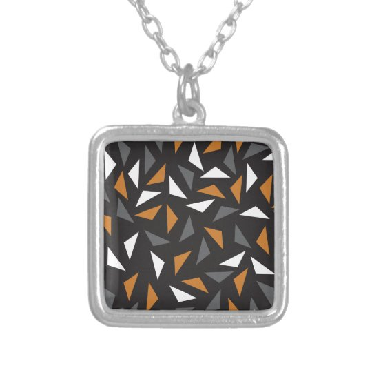 Animated triangles silver plated necklace
