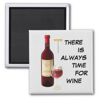 Animated wine bottle and glass square magnet