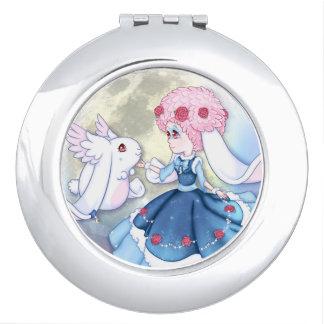 Anime Bunny Blue Moon Compact Mirrors