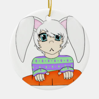 Anime Bunny Rabbit Boy With Carrot Round Ceramic Decoration