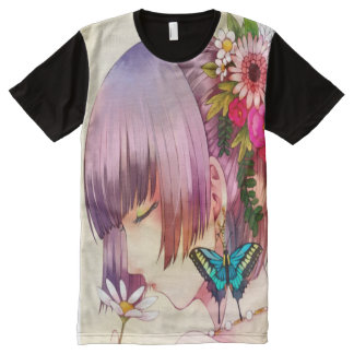 Anime Butterfly Maiden Girl Watercolor All-Over Print T-Shirt