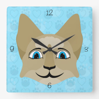 Anime Cat Face With Blue Eyes Square Wall Clocks