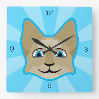 Anime Cat Face With Blue Eyes Square Wall Clock