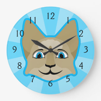 Anime Cat Face With Blue Eyes Wall Clock