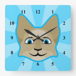 Anime Cat Face With Blue Eyes Clocks