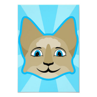 """Anime Cat Face With Blue Eyes 3.5"""" X 5"""" Invitation Card"""