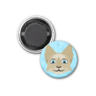 Anime Cat Face With Blue Eyes Fridge Magnet