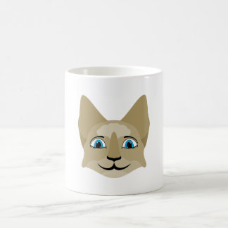 Anime Cat Face With Blue Eyes Coffee Mugs