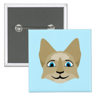 Anime Cat Face With Blue Eyes Pinback Button