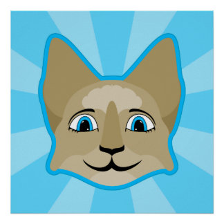 Anime Cat Face With Blue Eyes Posters