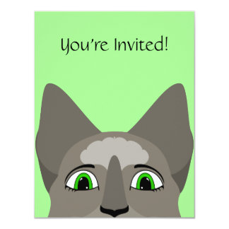 Anime Cat Face With Green Eyes Personalized Invite