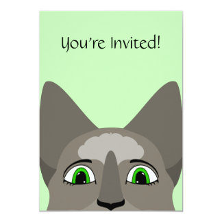 Anime Cat Face With Green Eyes Cards